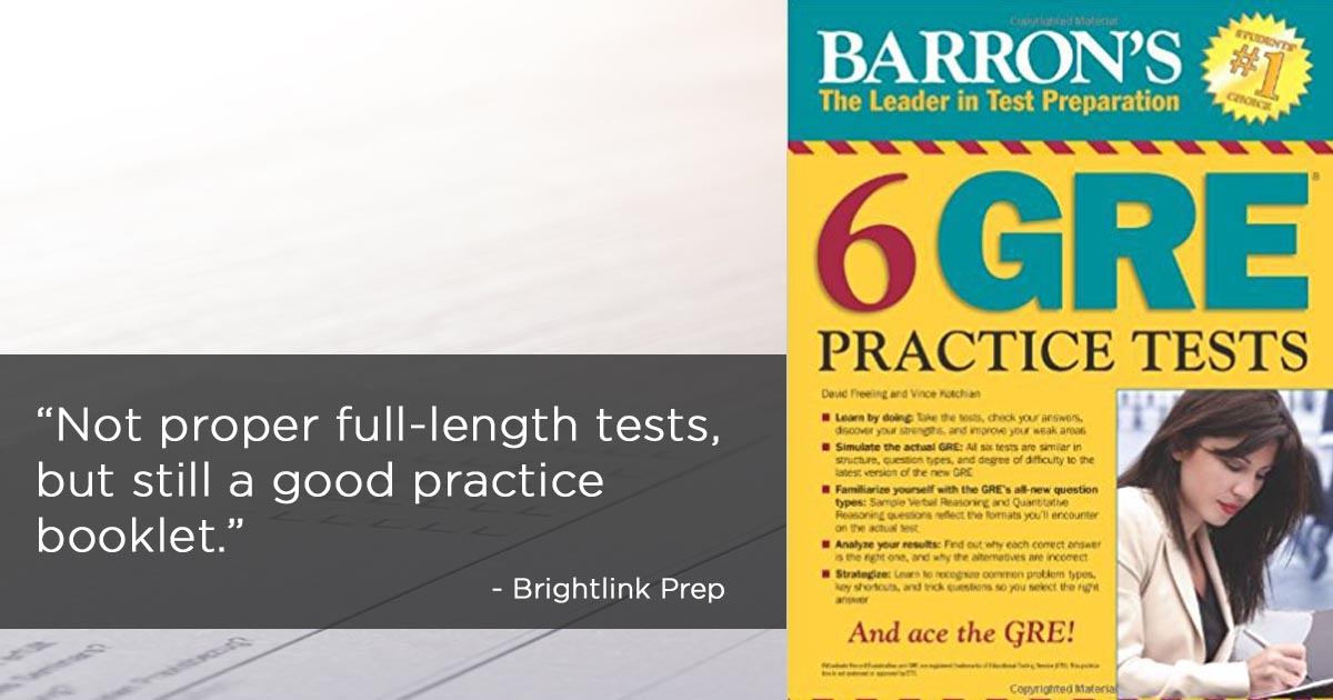 Review of Barron's 6 GRE Practice Tests